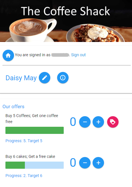 Point of sale interface for a stamp-card style scheme