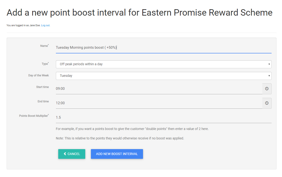 Setting up a new Points Boost interval