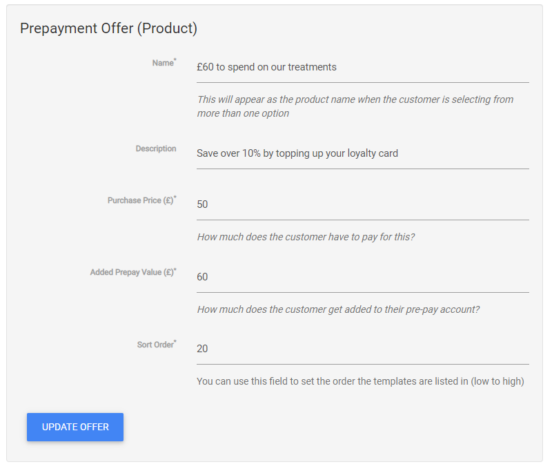 Form to manage a prepay offer