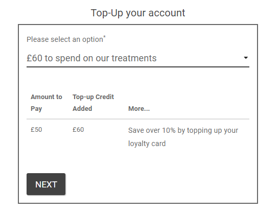 Embedded pre-pay top-up form