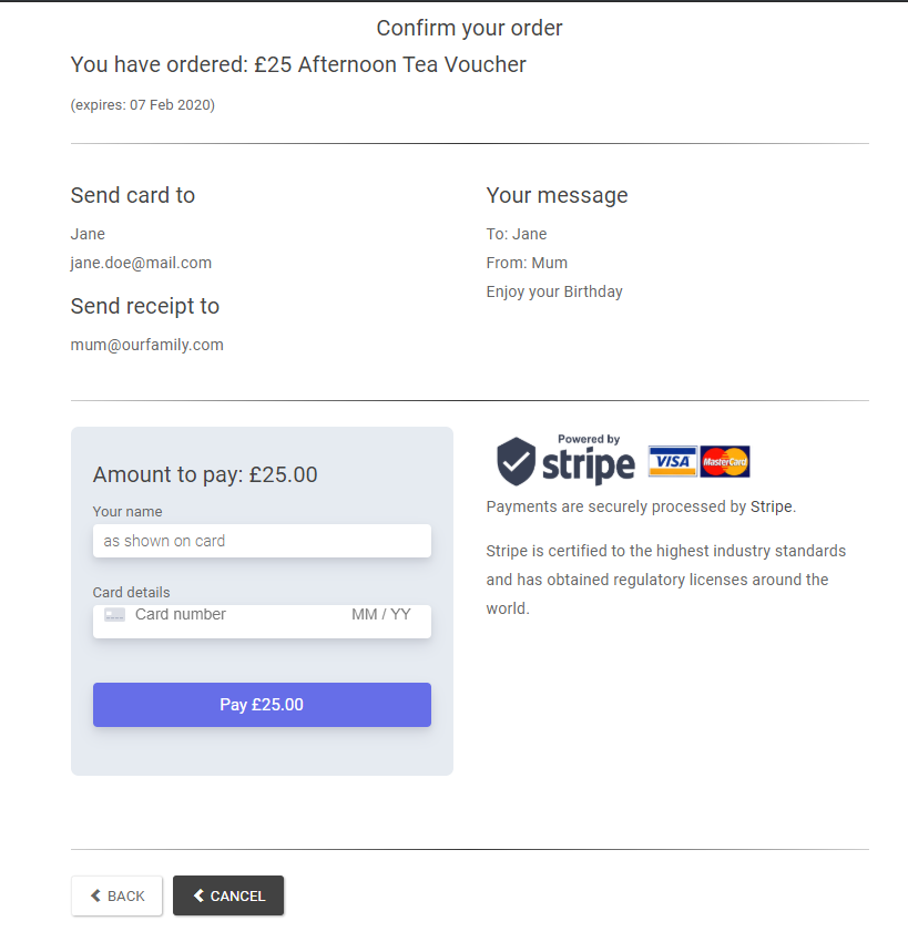 Order confirmation for an e-Gift card order