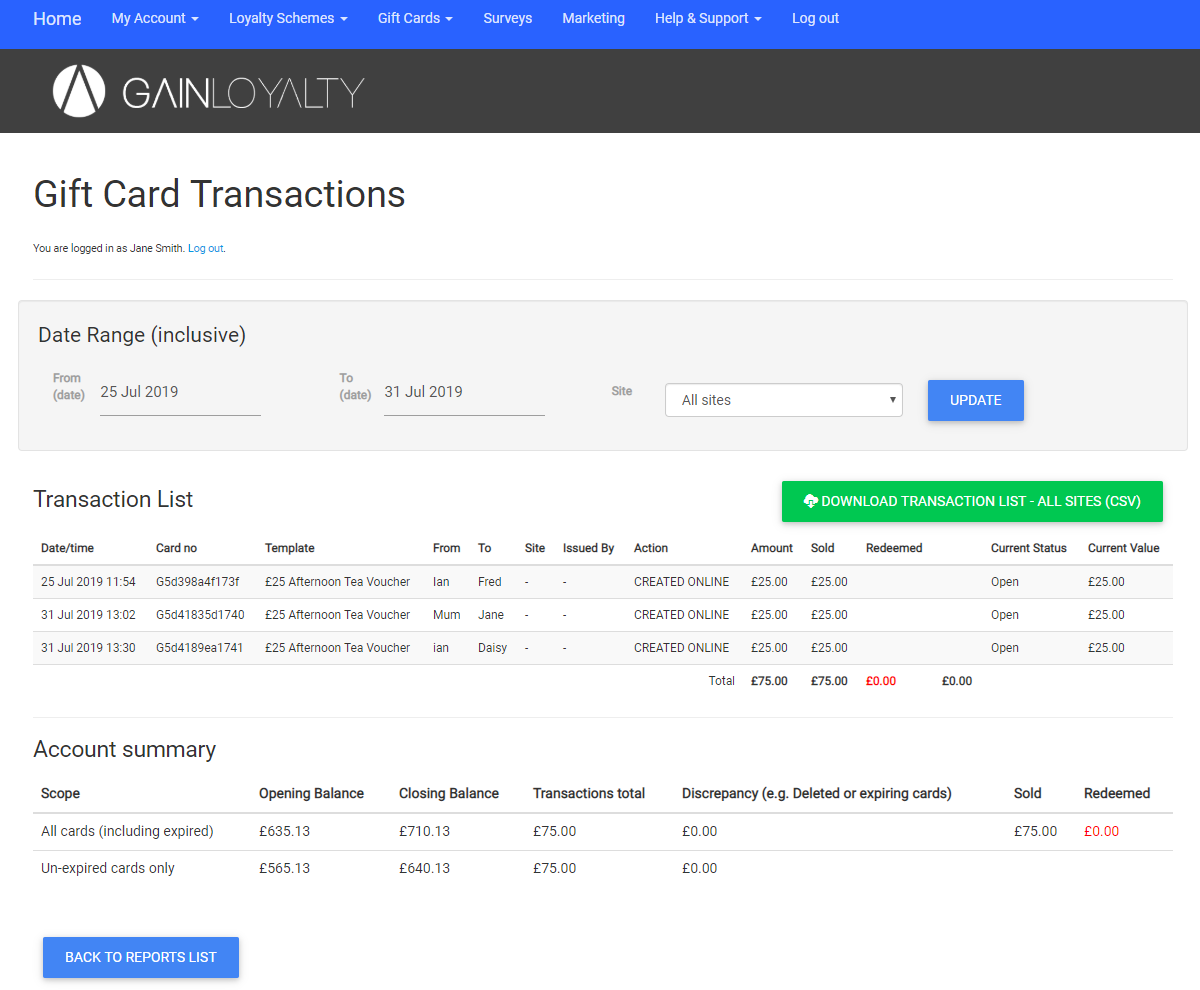 Gift card transaction reporting