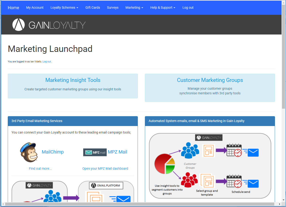 Gain Loyalty marketing dashboard