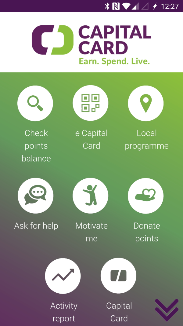 Screenshot of the Capital Card mobile app